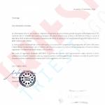 Letter from UNPO president Busdachin in Italian