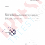 Letter from UNPO president Busdachin in Slovenian