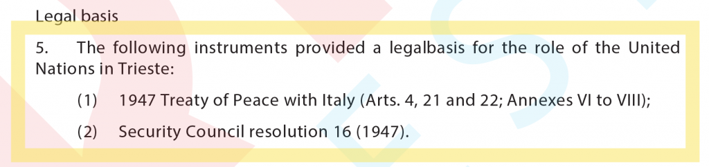 These are the legal basis of our Territory, according to the UN Security Council.