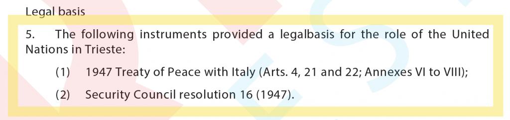 Queste sono le basi legali del nostro Territorio secondo il Consiglio di Sicurezza ONU.