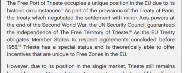 L'Inghilterra del brexit afferma l'esistenza del Territorio Libero di Trieste