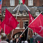 Protesting with flags of Trieste in front of the Italian embassy in the United Kingdom – London, 6 october 2014