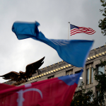 Flags of Trieste and of the United Nations in front of the embassy of the United States – London, 6 october 2014