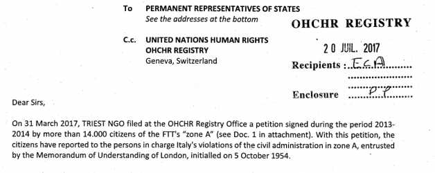Triest NGO smentisce le affermazioni della Porzio informando i responsabili internazionali del TLT
