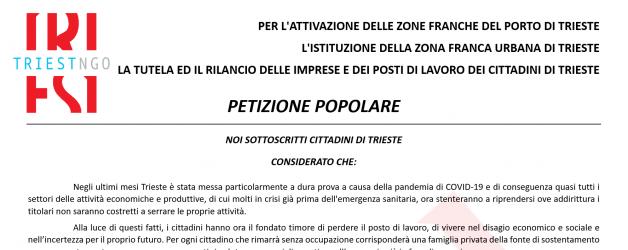 PETIZIONE POPOLARE PER IL RILANCIO ECONOMICO DI TRIESTE E DEL SUO PORTO FRANCO